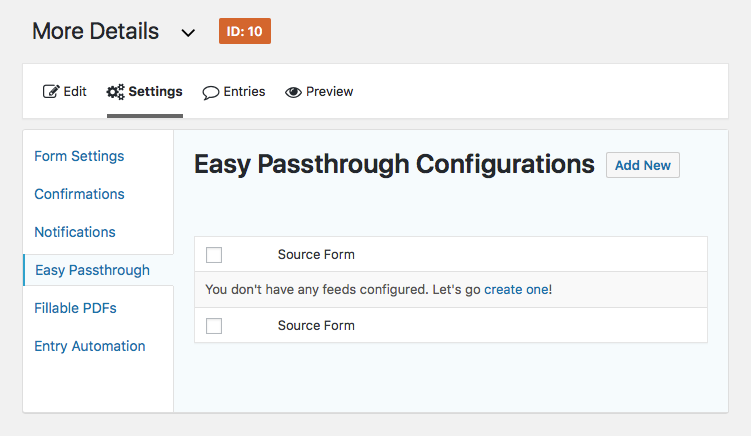 Easy Passthrough Configurations page