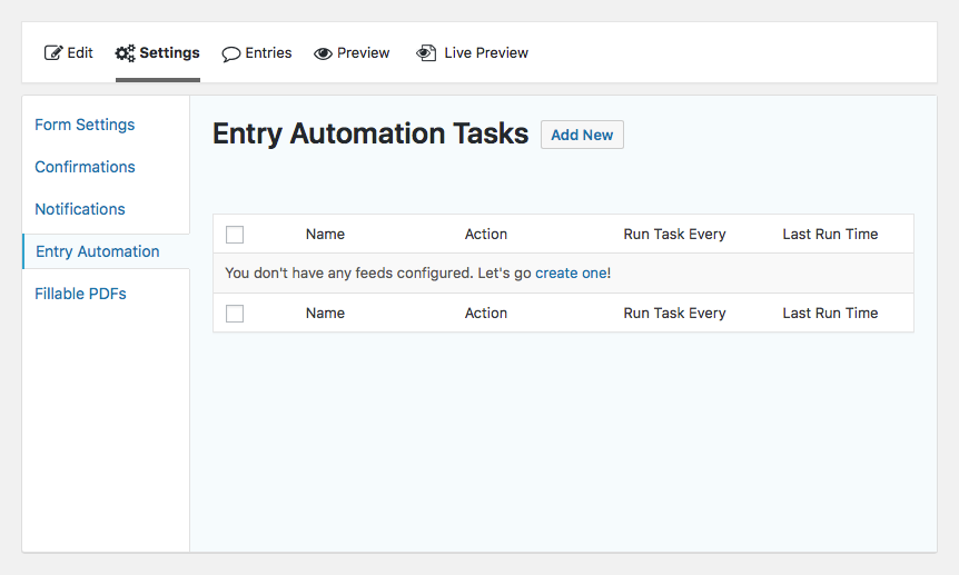 Entry Automation task list