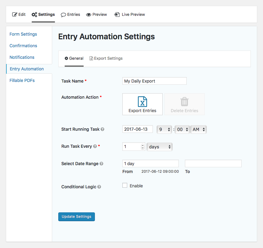 Entry Automation general task settings