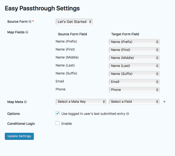 "When setting up Easy Passthrough, select the ""Use logged in user's last submitted entry"" checkbox."
