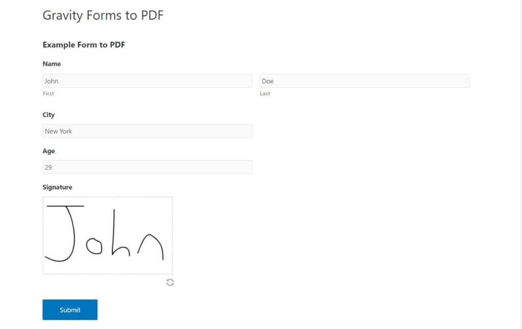 Gravity Forms to PDF example of the form