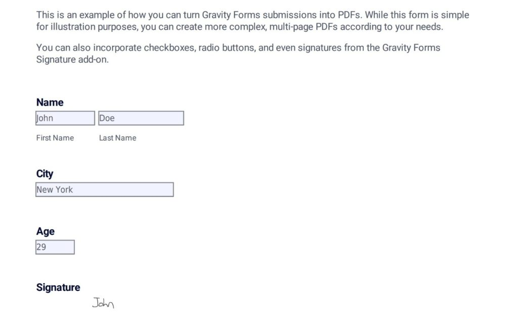 Gravity Forms to PDF example