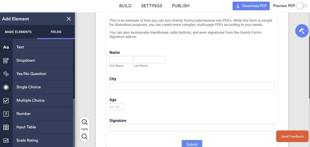 Create a Fillable PDF with JotForm