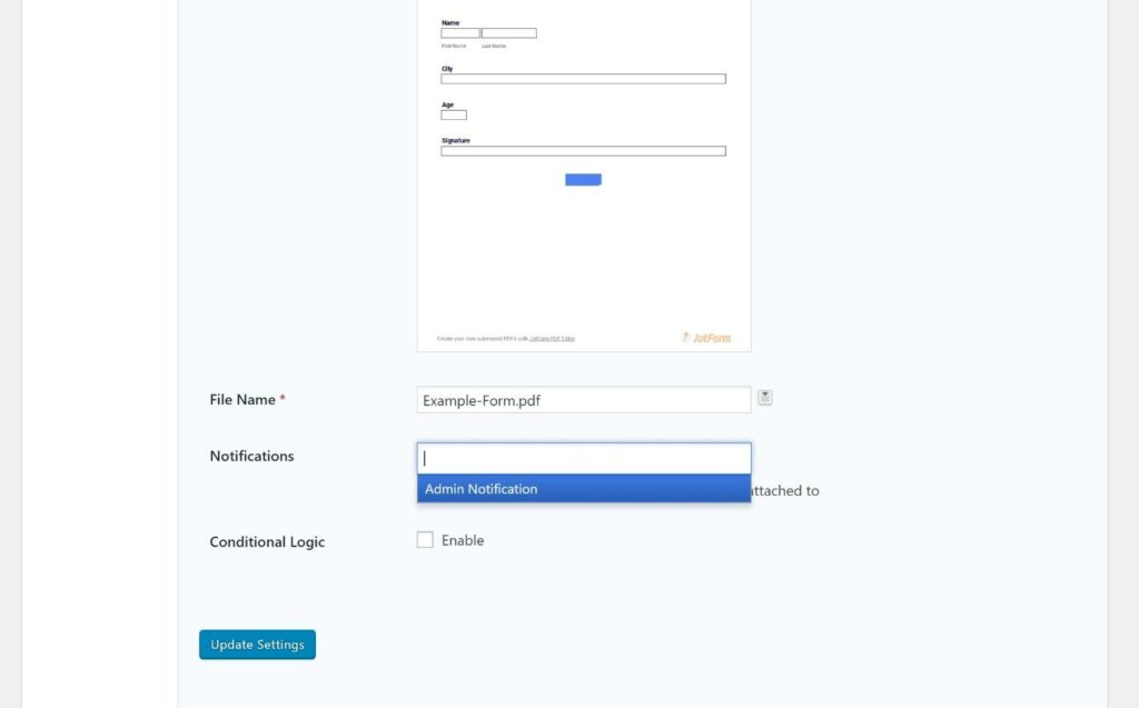 Attach PDF form to email