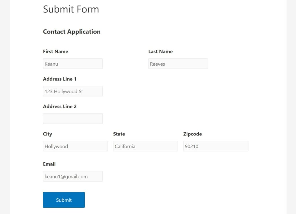 Front-end web form example